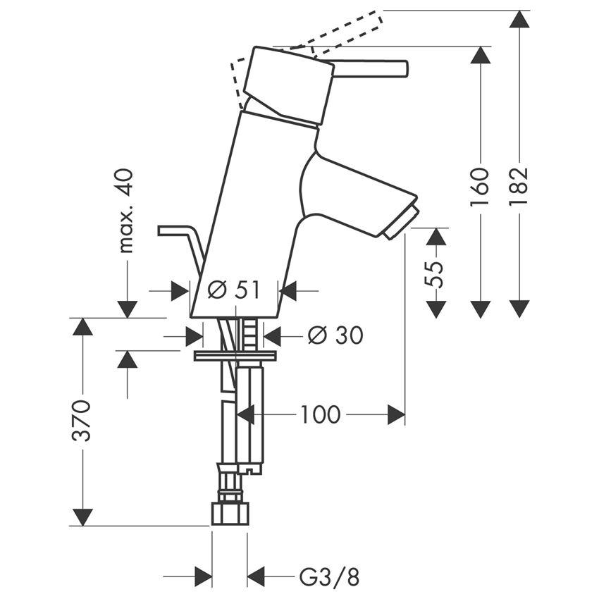 Jednouchwytowa bateria umywalkowa z cięgłem HansgroheTalis S rysunek techniczny