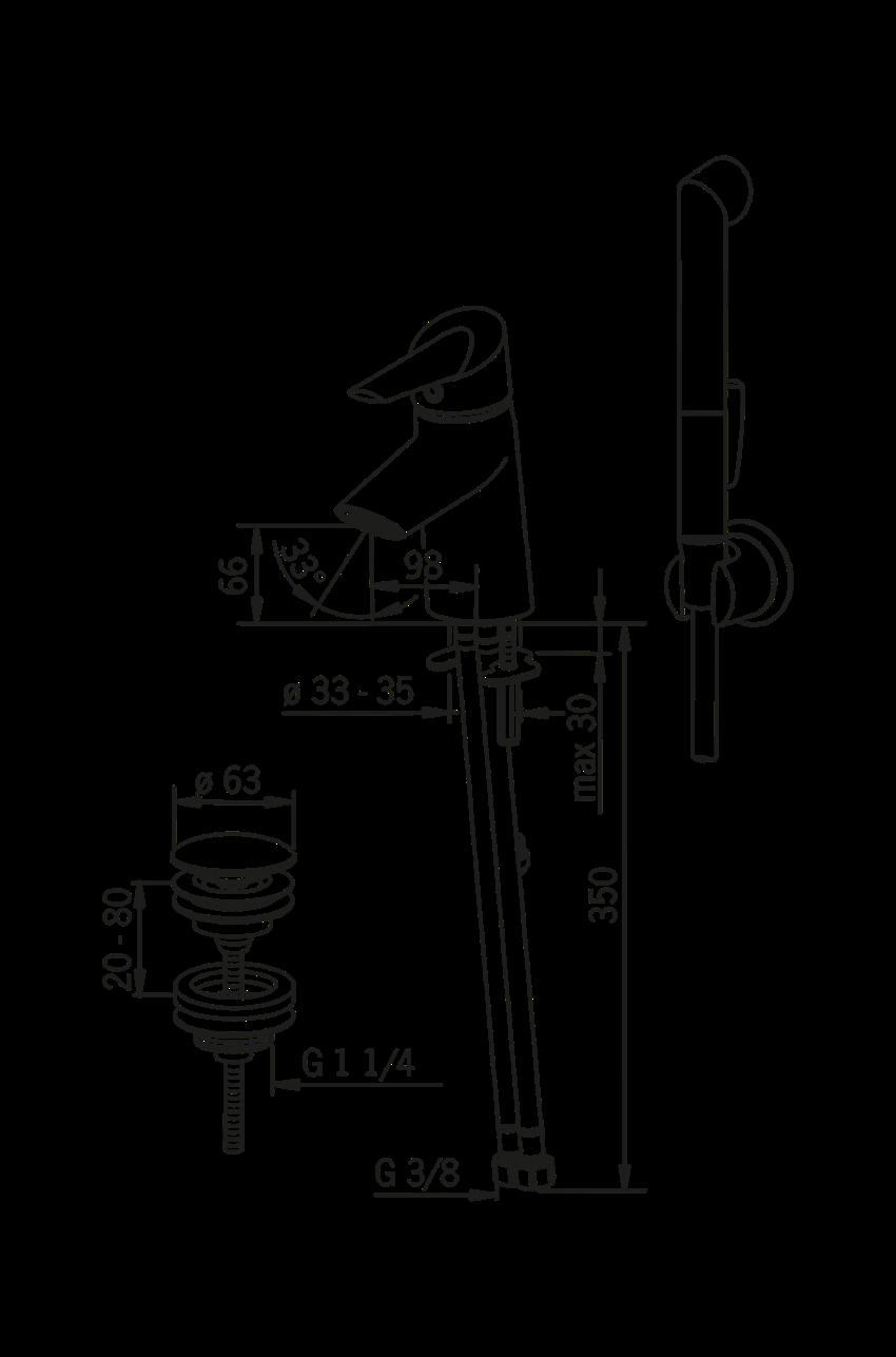 Bateria umywalkowa z rączką Bidetta Oras Optima rysunek techniczny