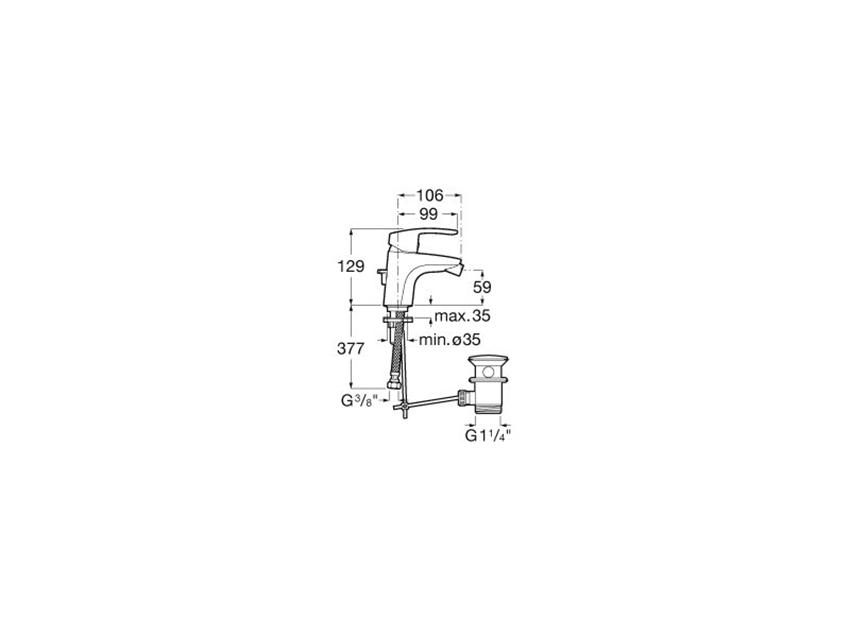 Rysunek techniczny baterii bidetowej z korkiem automatycznym Roca Monodin-N