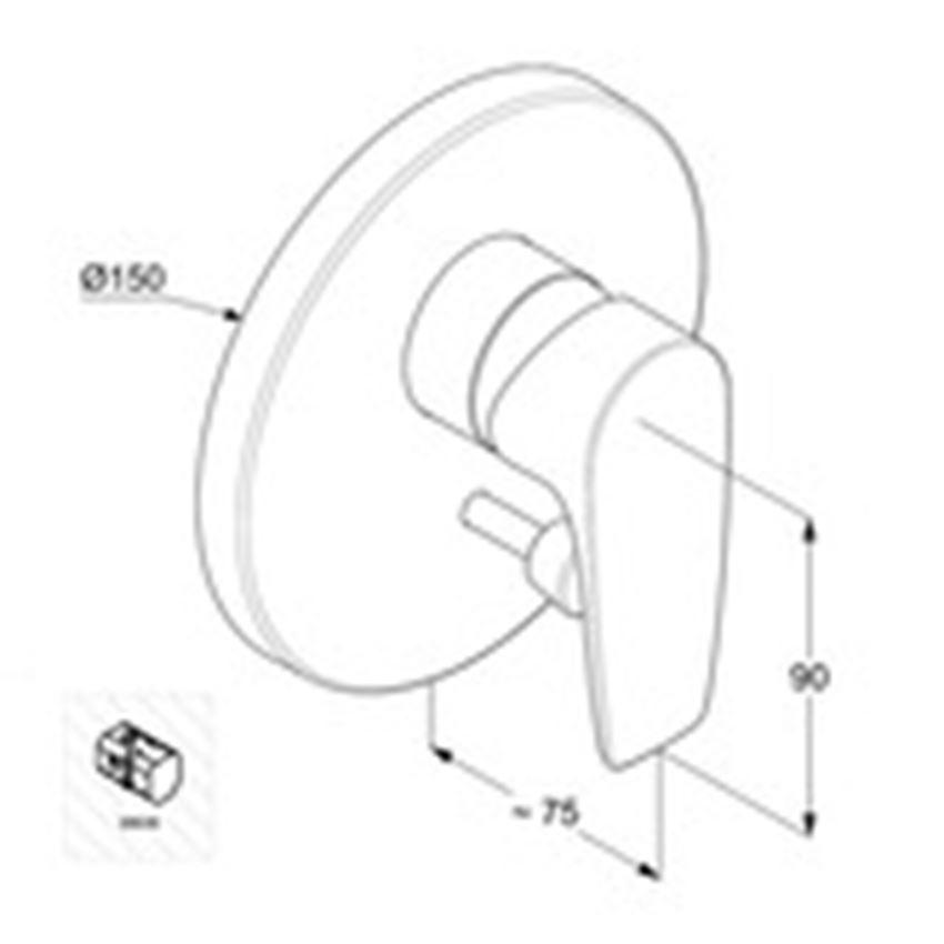 Podtynkowa bateria wannowo-natryskowa element zewnętrzny Kludi Pure&Solid rysunek techniczny