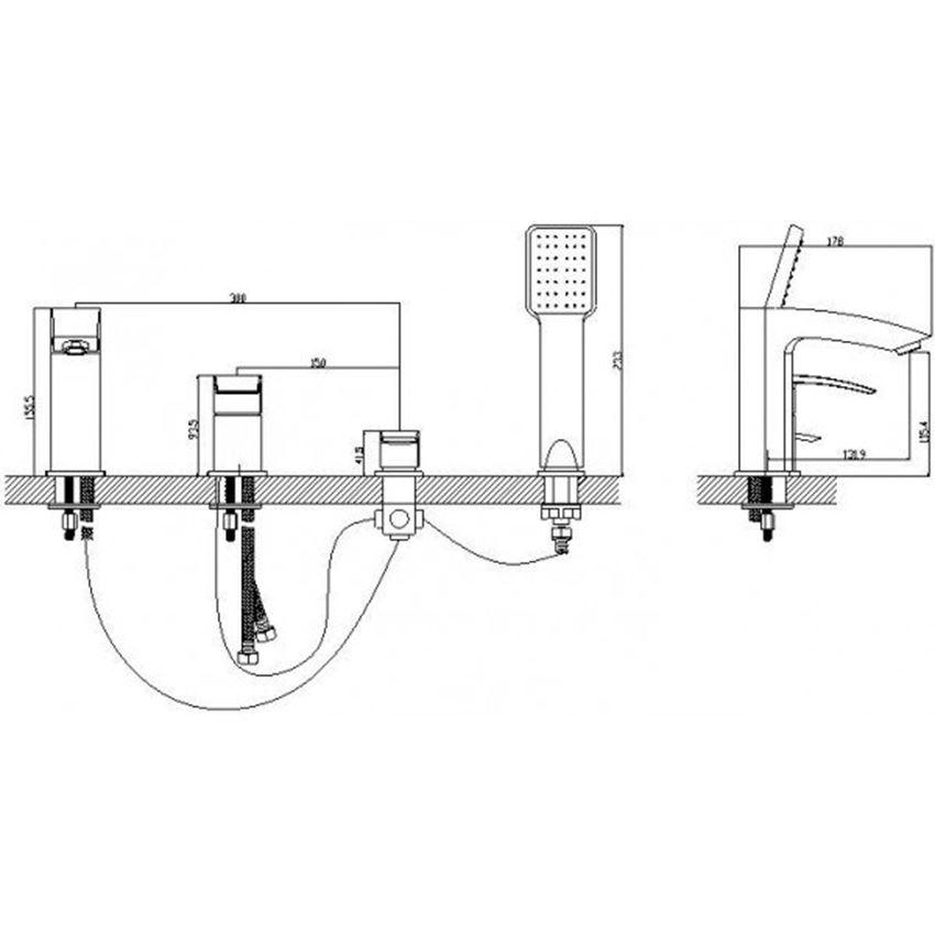 Bateria wannowa 4-otworowa Omnires Murray rysunek techniczny