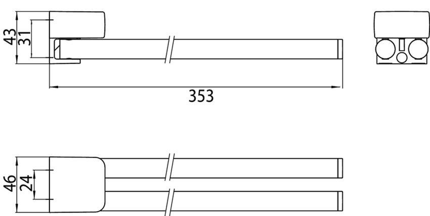 Wieszak łazienkowy 35 cm Emco Trend rysunek techniczny