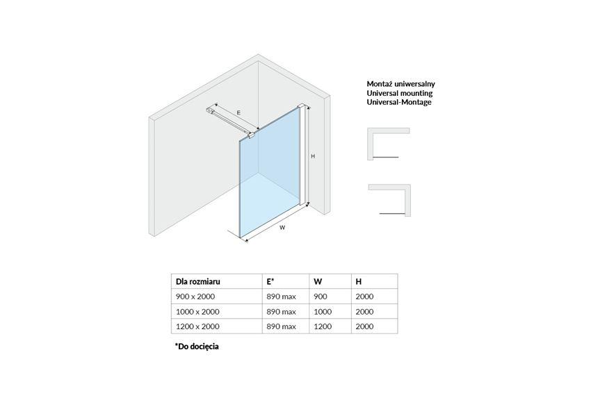 Ścianka typu walk-in Excellent Vidoq rysunek techniczny