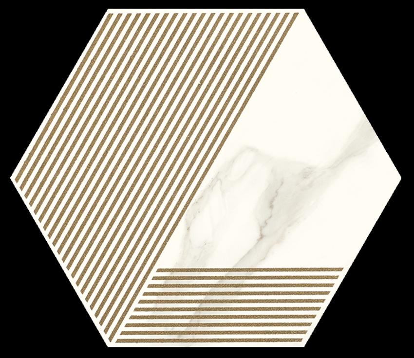 Dekoracja podłogowa 17,1x19,8 cm Paradyż Calacatta Hexagon Mat. A