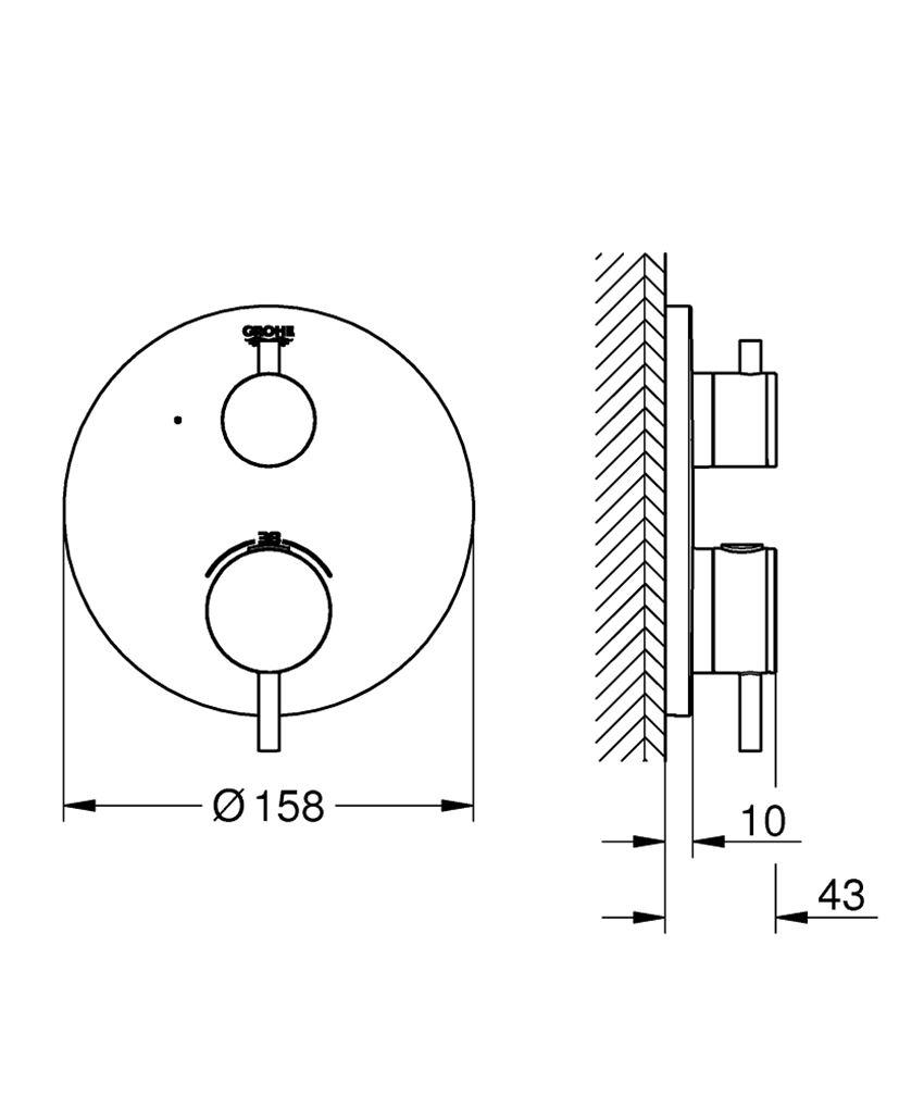Bateria termostatyczna do obsługi jednego wyjścia wody Grohe Atrio rysunek techniczny