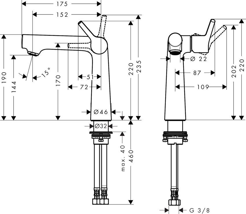 Bateria umywalkowa 140 bez kpl. odpływowego Hansgrohe Talis S rysunek techniczny