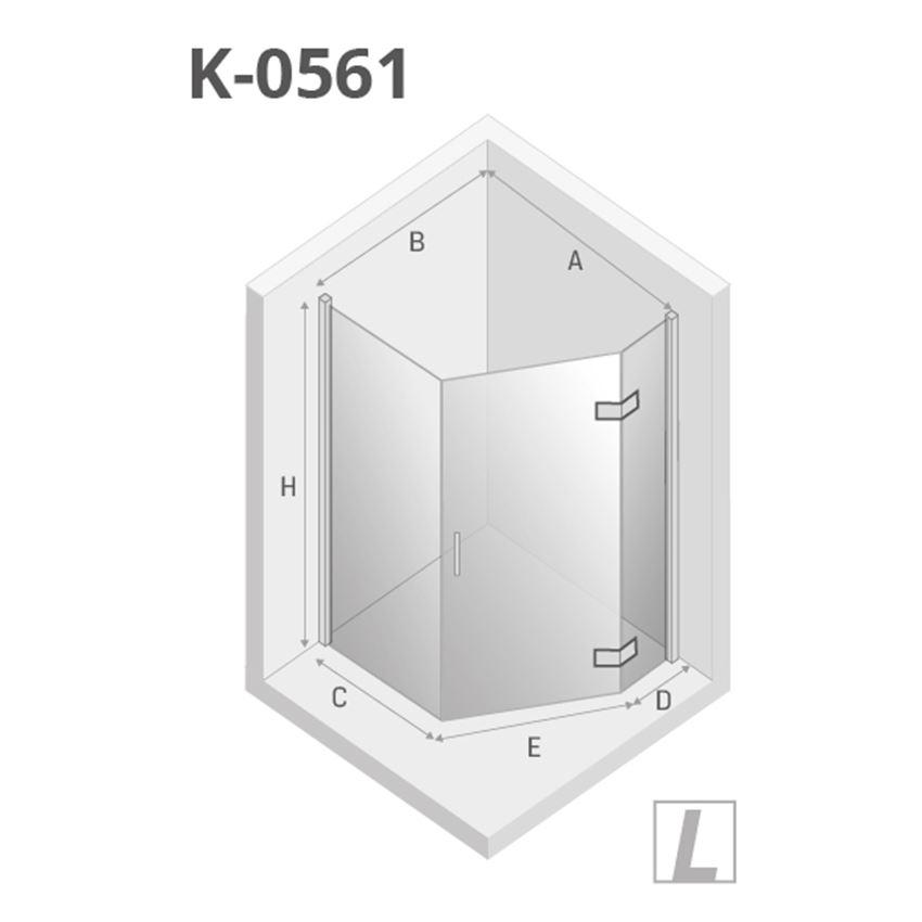 Kabina prysznicowa pięciokątna prawa 100x80x195 cm New Trendy New Azura rysunek techniczny