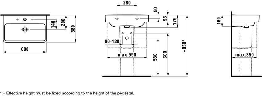 Umywalka wersja compacto 60 cm Laufen Pro S rysunek