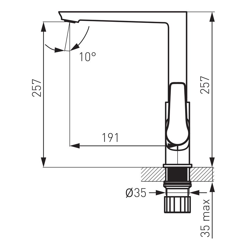 Bateria zlewozmywakowa stojąca Ferro Adore rysunek techniczny