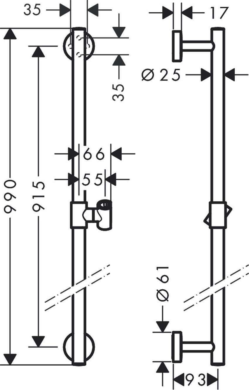 Drążek prysznicowy Comfort 90 cm Hansgrohe Unica rysunek techniczny