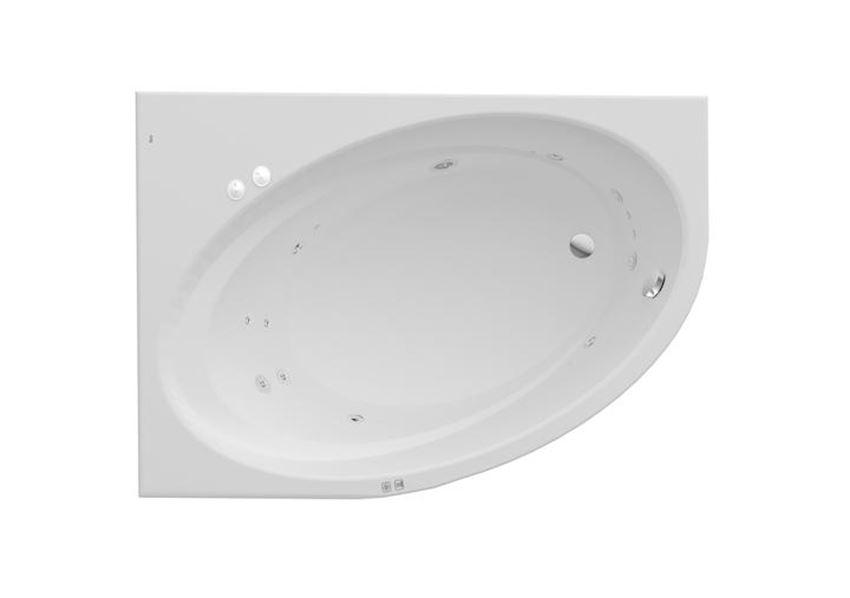 Wanna akrylowa asymetryczna narożna z hydromasażem Smart Water Plus 160x100x44 cm Roca Orbita
