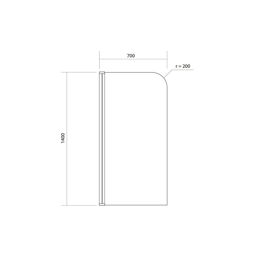 Parawan 1-elementowy 140x70 cm Cersanit Easy rysunek techniczny
