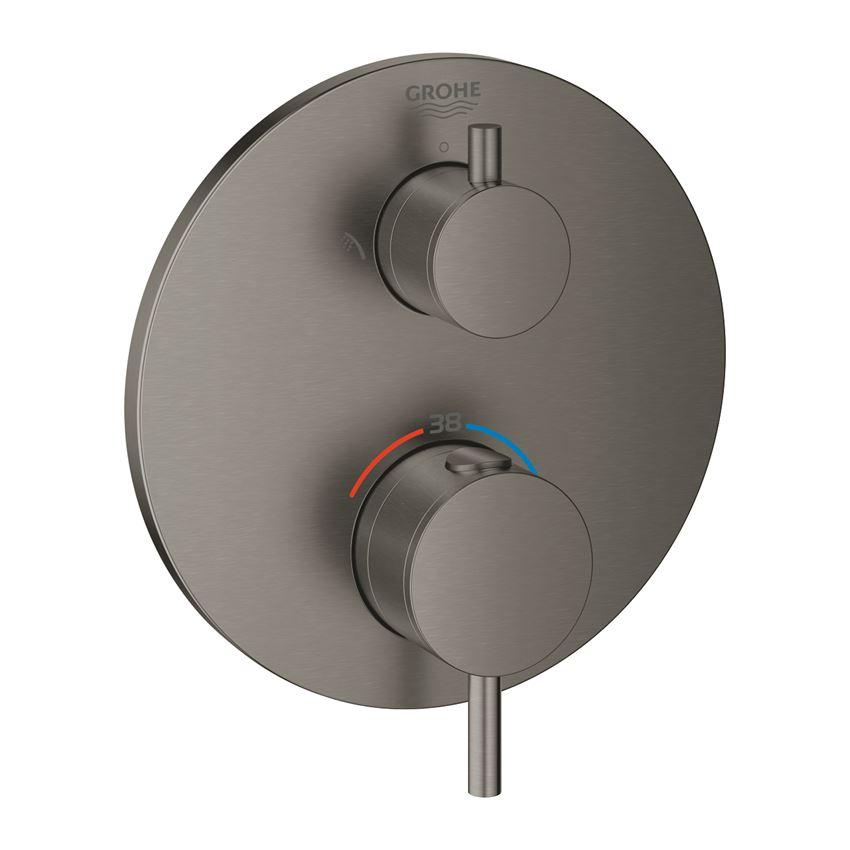 Termostatyczna bateria prysznicowa do obsługi dwóch wyjść wody brushed hard graphite Grohe Atrio