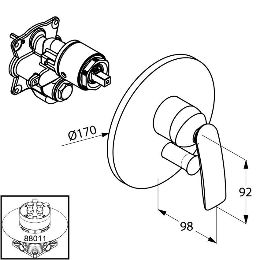 Podtynkowa bateria wannowo-natryskowa element zewnętrzny Kludi Balance rysunek techniczny