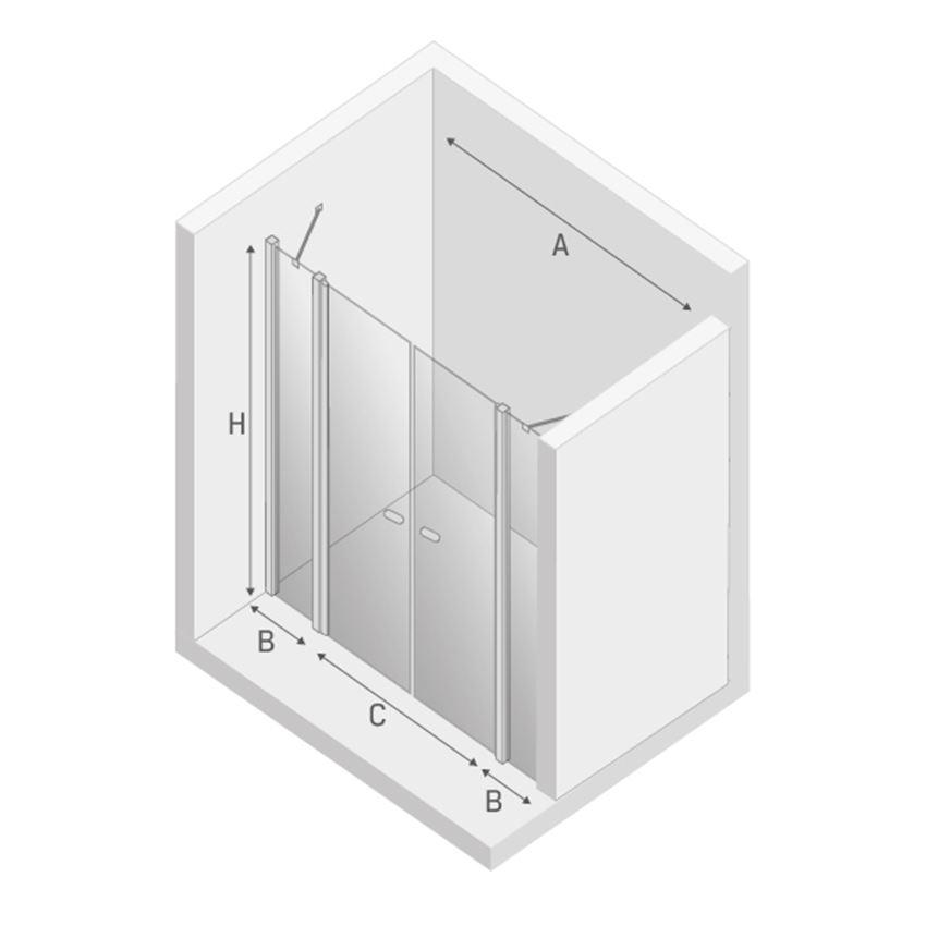Drzwi prysznicowe podwójne New Trendy New Soleo rysunek techniczny