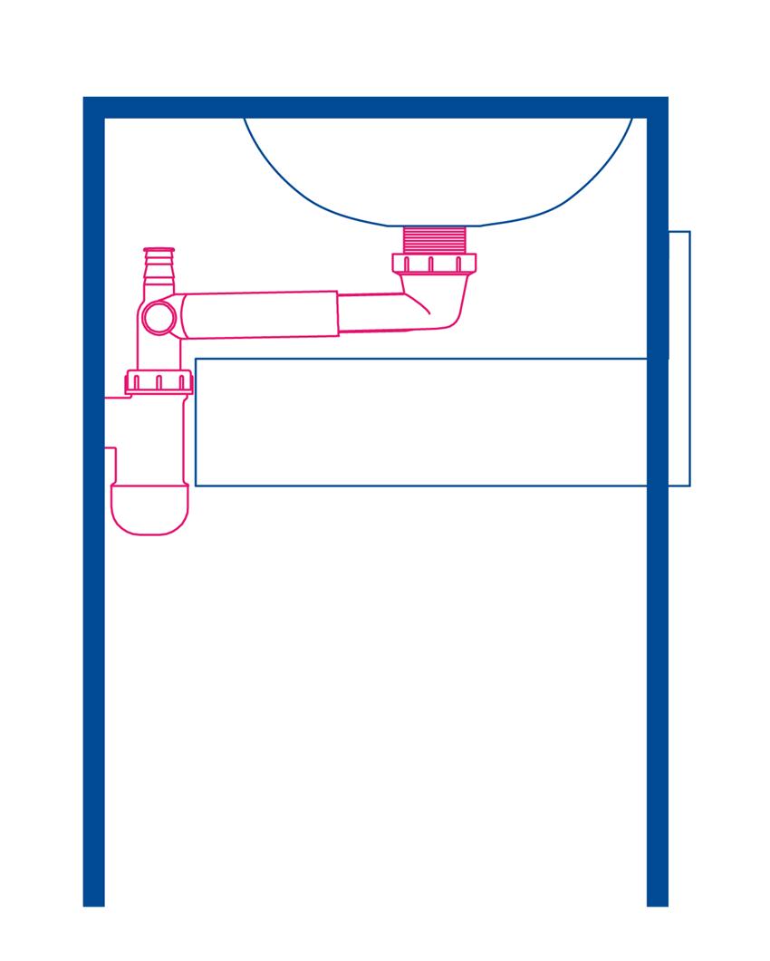 Umywalka z konsolą łazienkowa z szufladą Deante Temisto rysunek techniczny