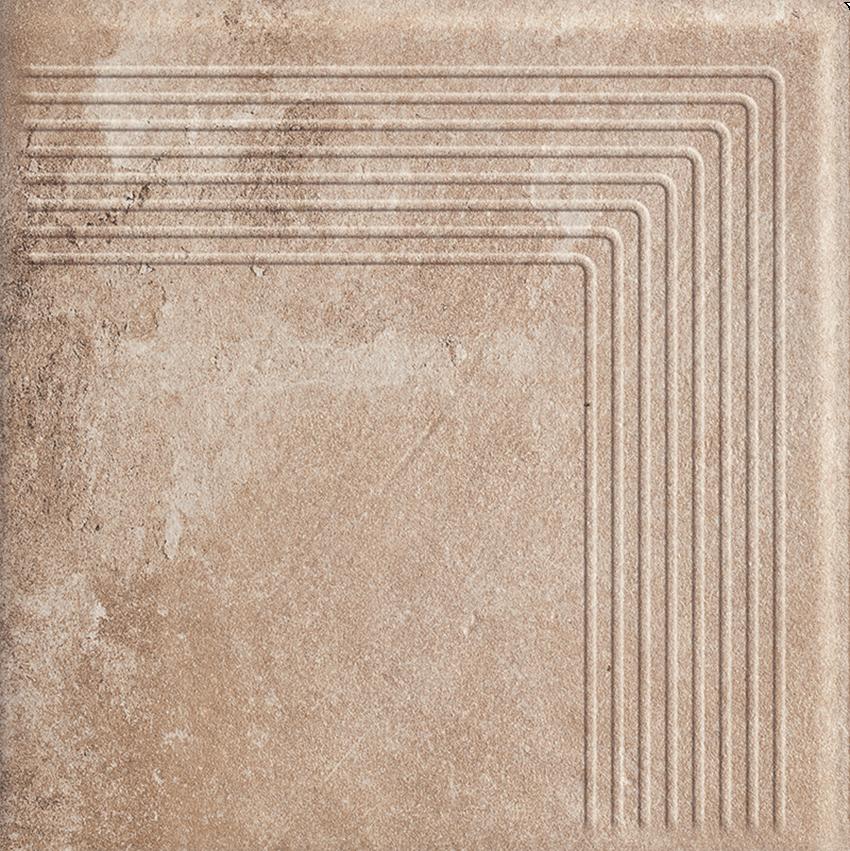 Płytka stopnicowa 30x30 cm Paradyż Scandiano Ochra Stopnica Narożna