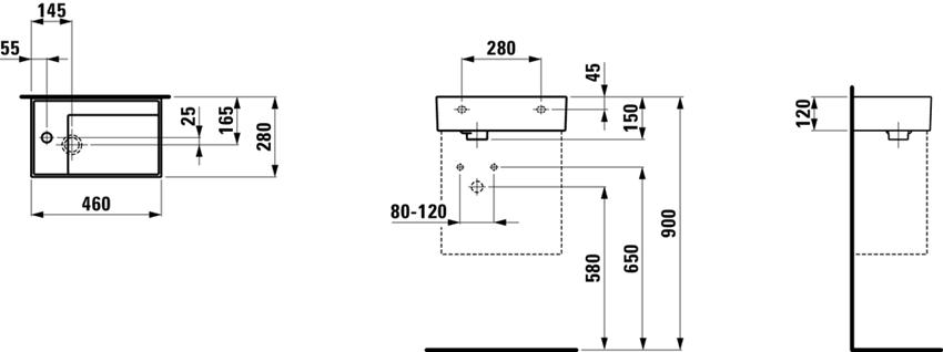 Mała umywalka ścienna/meblowa półka na baterię z lewej strony Laufen Kartell rysunek techniczny