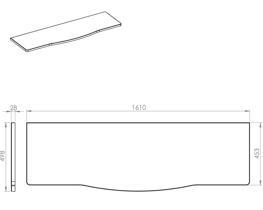 Blat naszafkowy pełny 161 cm Elita Rolly rysunek