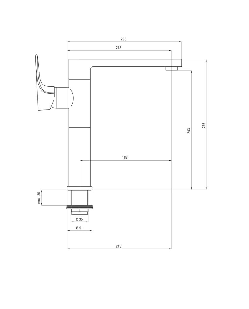 Bateria umywalkowa stojąca z podwyższonym korpusem Deante Gardenia rysunek techniczny