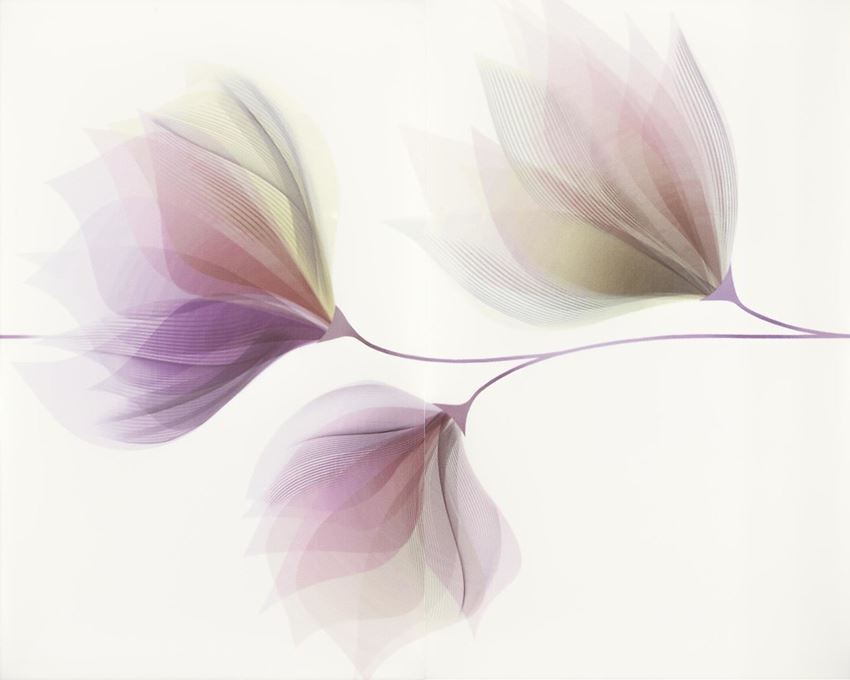 Dekoracja ścienna 40x50 cm Cersanit Loris white inserto flower