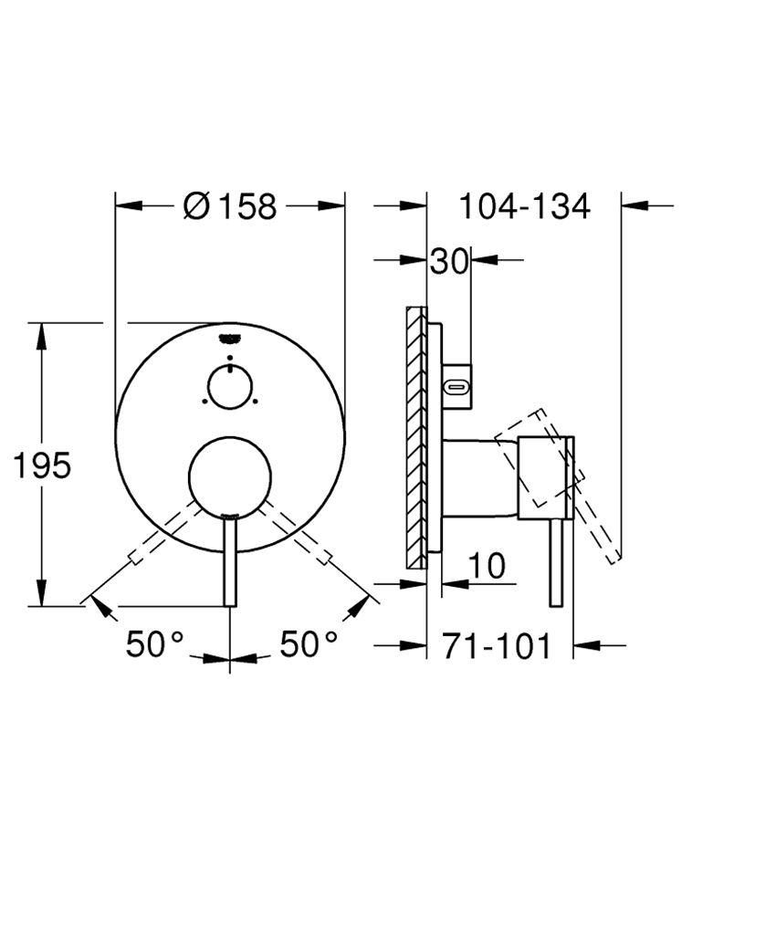 Jednouchwytowa bateria do obsługi trzech wyjść wody Grohe Atrio rysunek techniczny