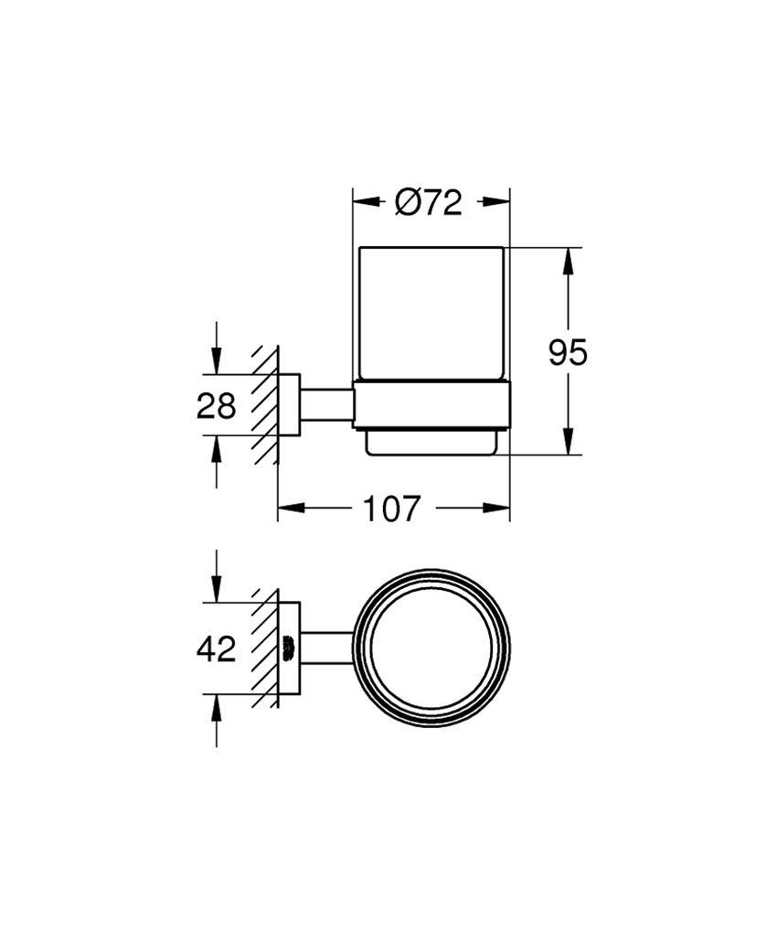 Szklanka z uchwytem Grohe Essentials Cube rysunek techniczny