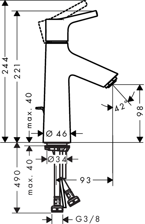 Jednouchwytowa bateria umywalkowa 100 z cięgłem Hansgrohe Talis S rysunek techniczny