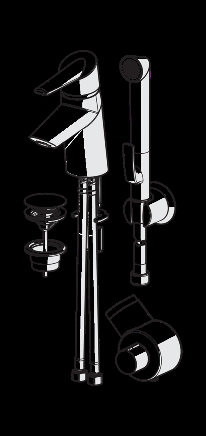 Bateria umywalkowa z rączką Bidetta ze zdalnym sterowaniem Oras Optima rysunek techniczny