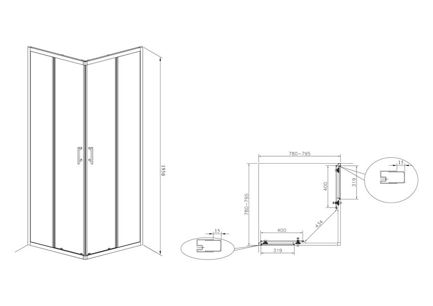 Kwadratowa kabina prysznicowa 80x80 cm Roca Town rysunek techniczny