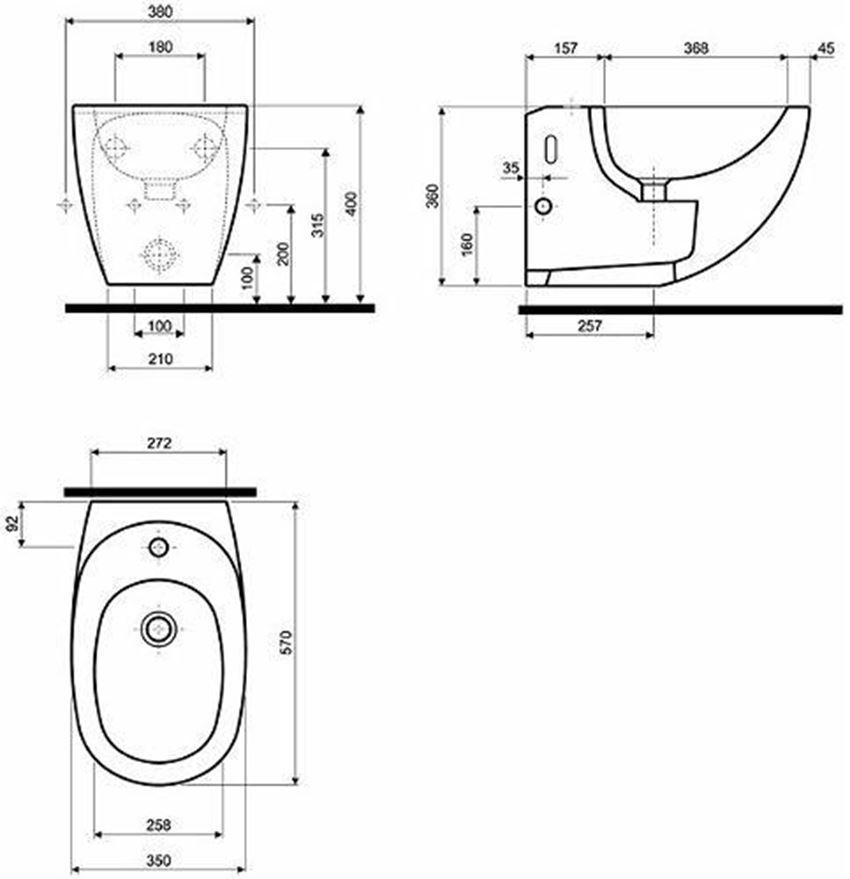 Zestaw Technic GT stelaż + bidet Koło Ego rysunek techniczny