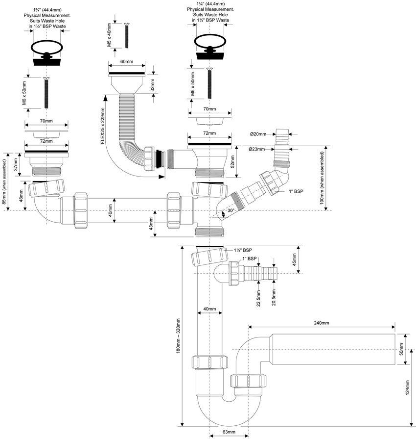 Syfon zlewozmywakowy podwójny rurowy McAlpine rysunek techniczny