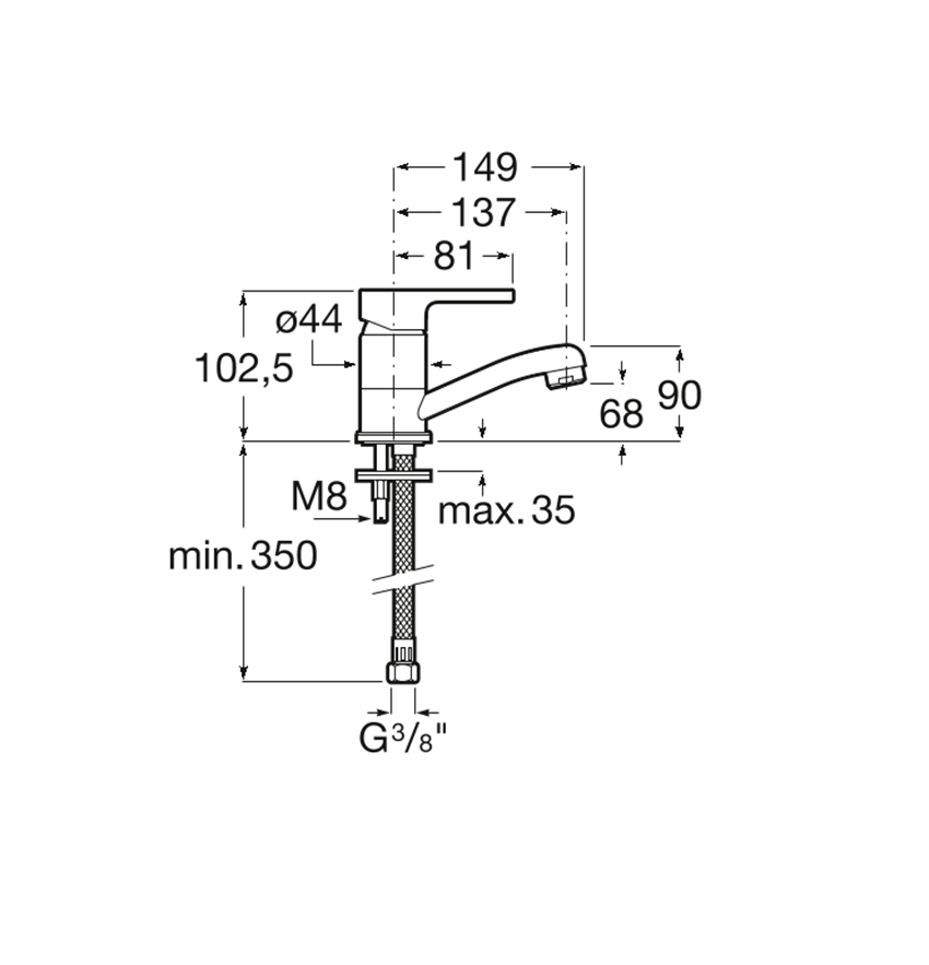 Bateria kuchenna niska wylewka Roca Arola rysunek techniczny