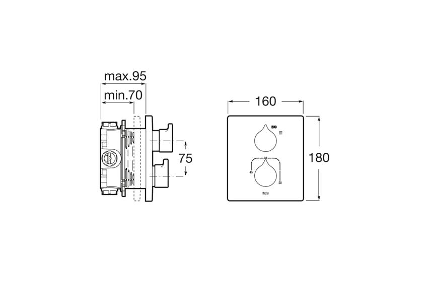 Bateria termostatyczna wannowa lub prysznicowa podtynkowa Roca Insignia rysunek