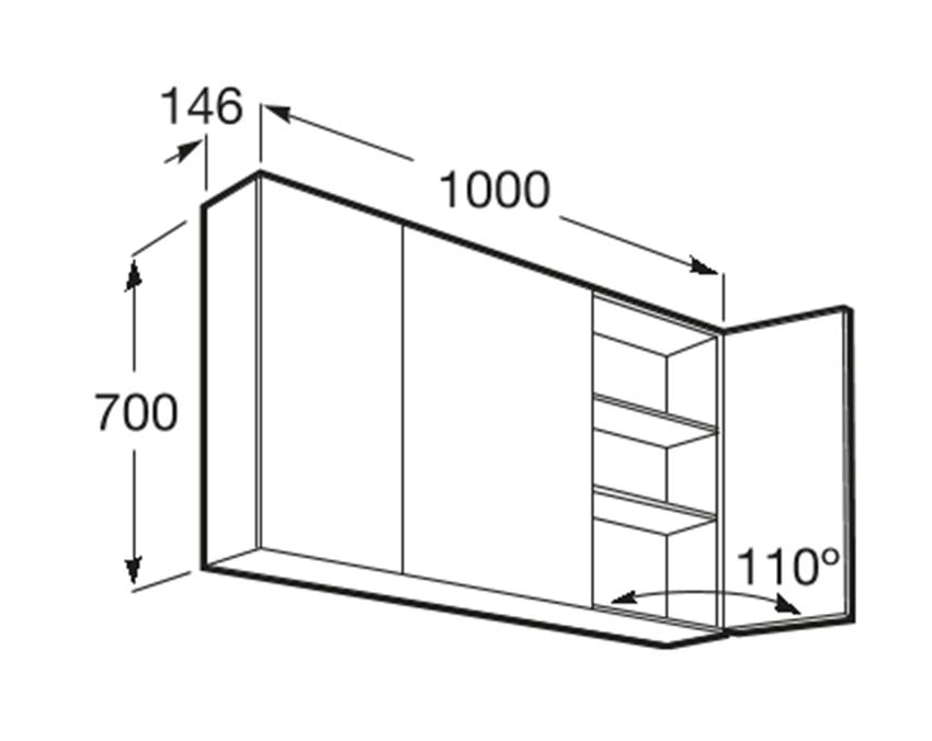 Szafka łazienkowa z lustrem 100x14,6x70 cm Roca Luna rysunek