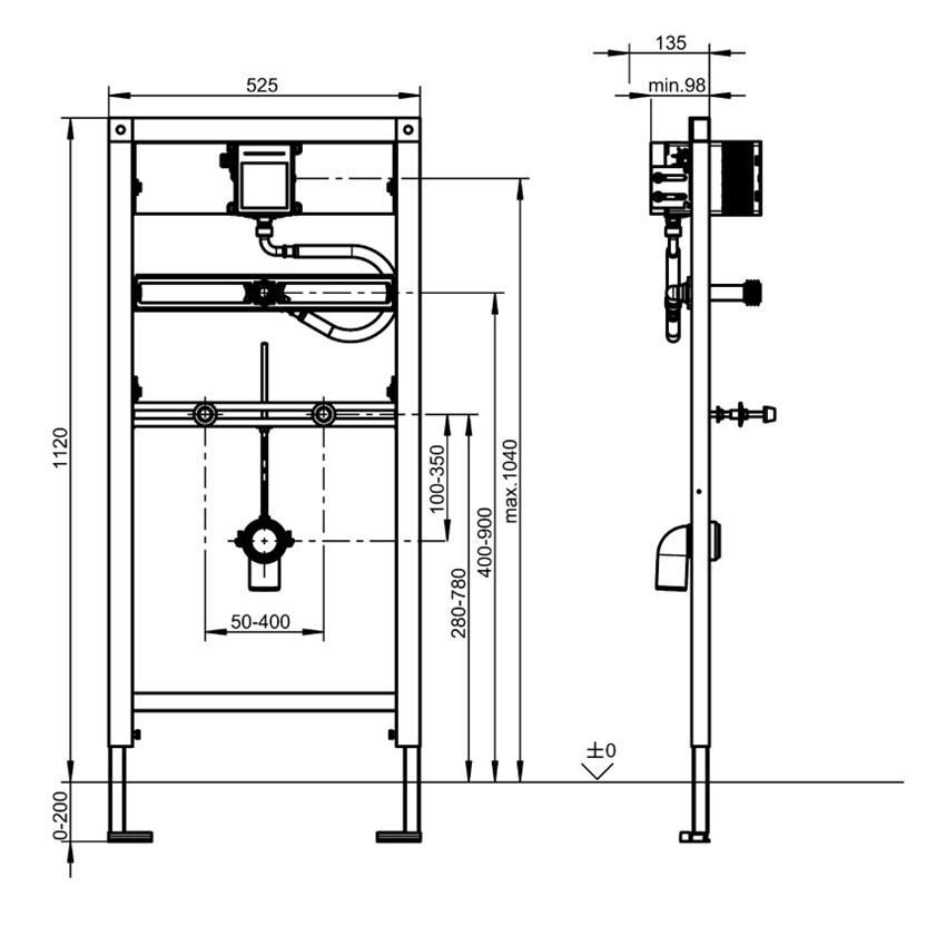 Stelaż podtynkowy do pisuarów ceramicznych wyposażonych w podtynkową armaturę spłukującą Franke Aquafix rysunek techniczny
