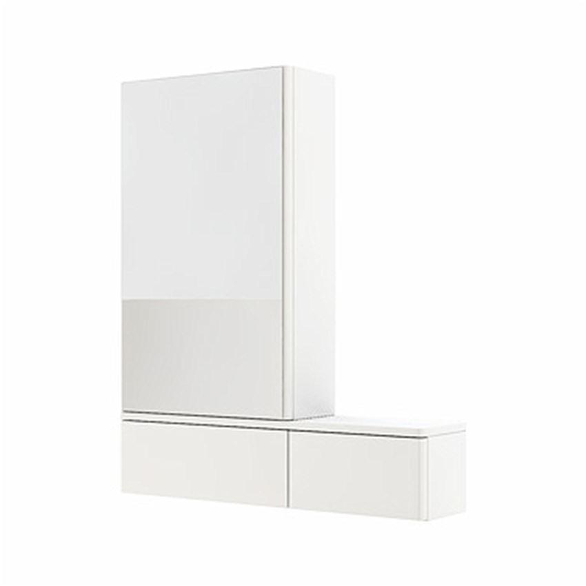 Szafka wisząca z lustrem lewa 70,8x85x17,6 cm biały połysk Koło Nova Pro