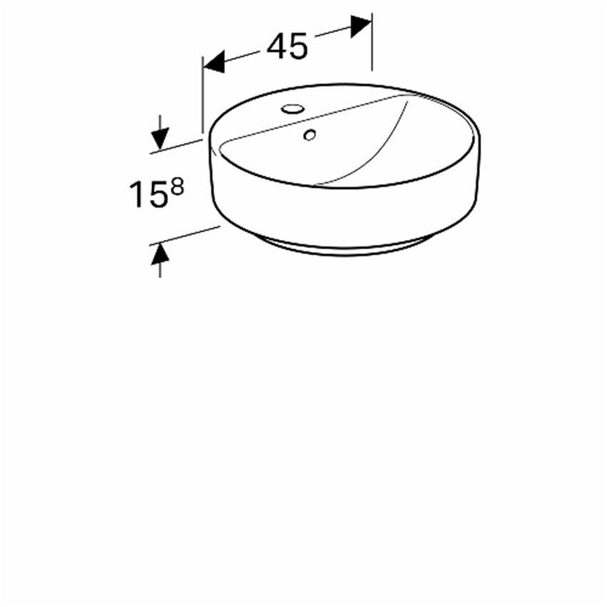 Umywalka stawiana na blat 45 cm okrągła z otworem i przelewem Koło VariForm rysunek techniczny