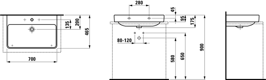 Umywalka 70 cm Laufen Pro S rysunek techniczny