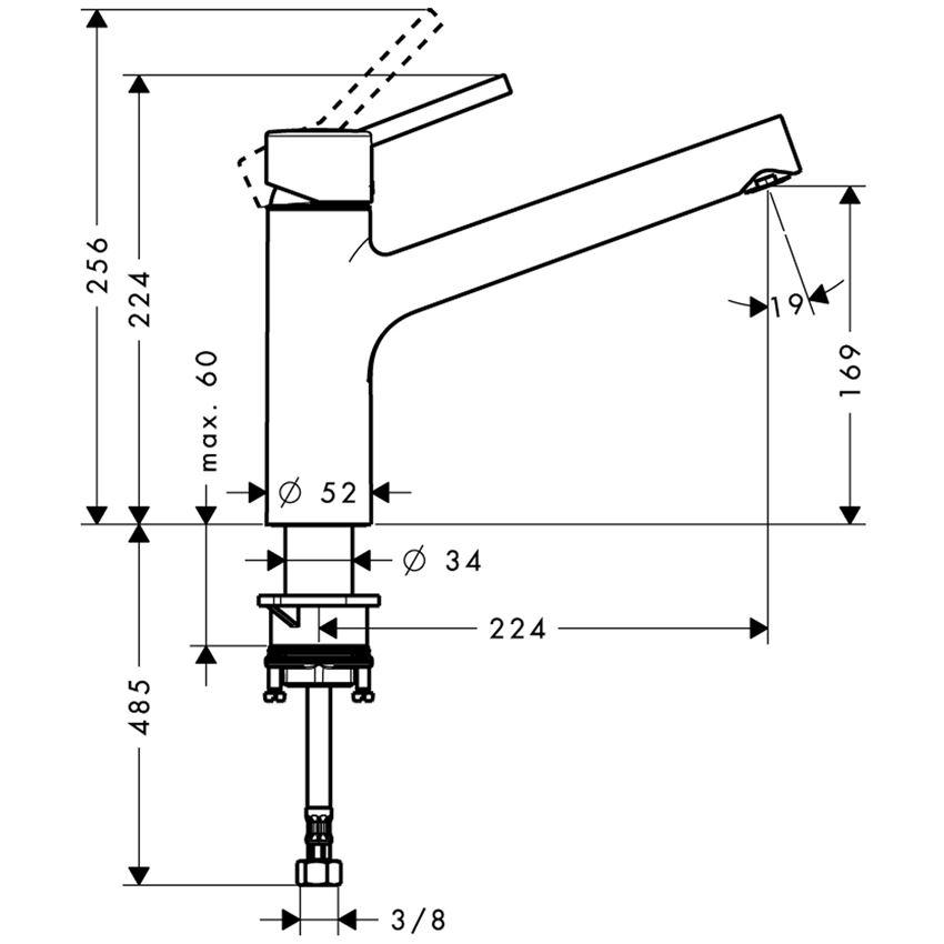 Jednouchwytowa bateria kuchenna rysunek techniczny