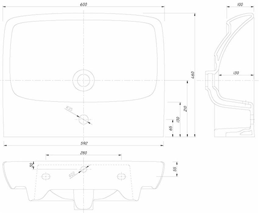 Umywalka prostokątna 60 cm Koło Nova Pro rysunek techniczny