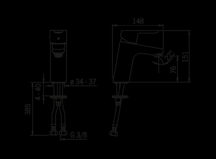 Bateria umywalkowa Oras Aquita rysunek techniczny