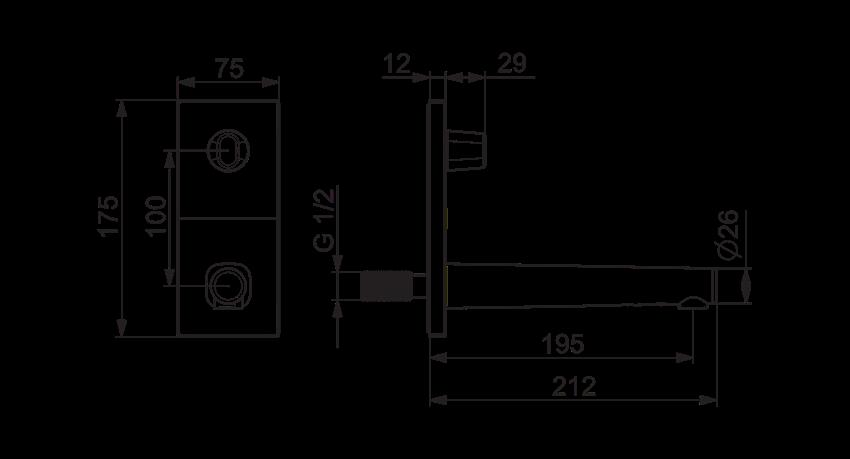 Element natynkowy do baterii umywalkowej podtynkowej Oras Inspera rysunek techniczny