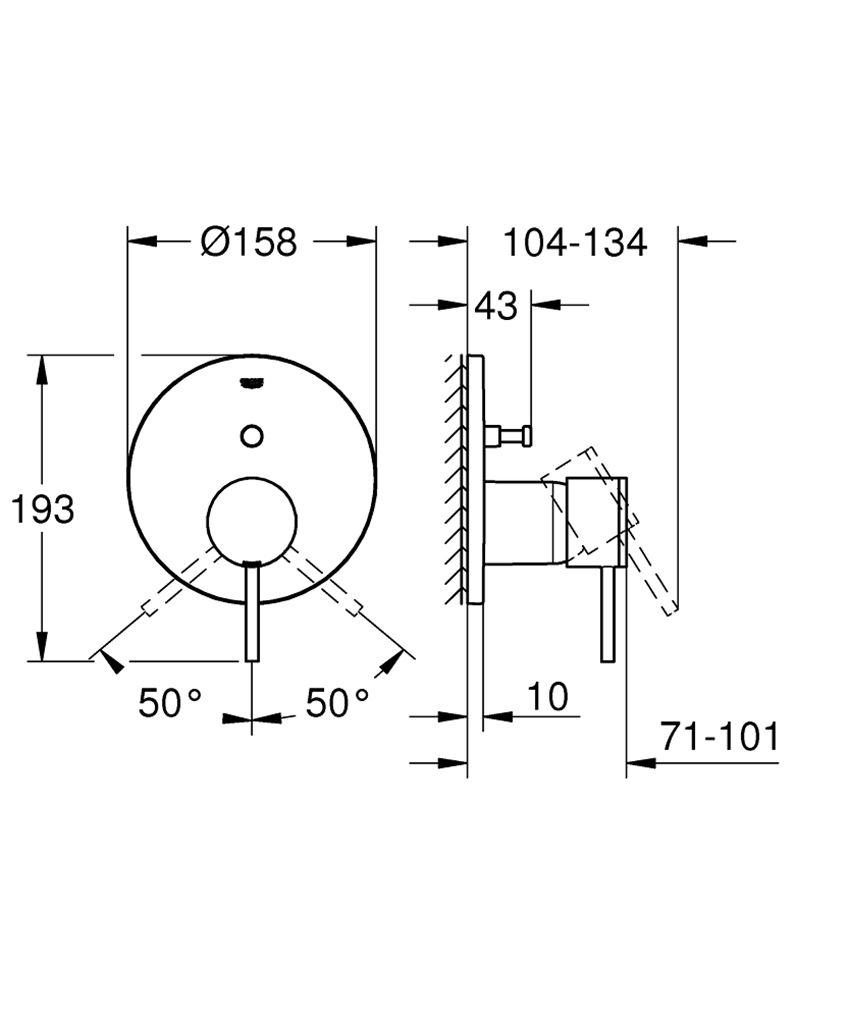 Jednouchwytowa bateria wannowa chrom Grohe Atrio rysunek techniczny