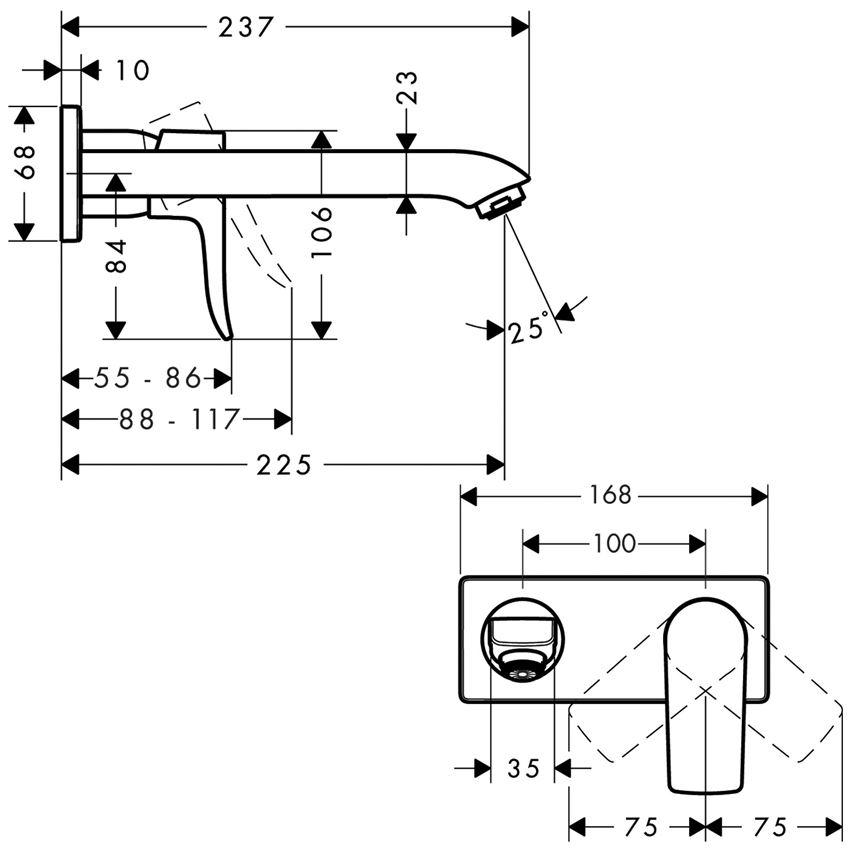 Jednouchwytowa bateria umywalkowa wylewka 22,5 cm element zewnętrzny Hansgrohe Matris rysunek techniczny