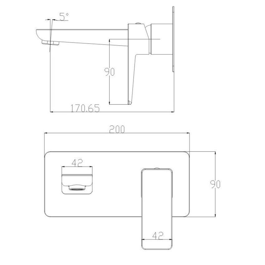 Bateria umywalkowa podtynkowa Omnires Parma rys.techniczny