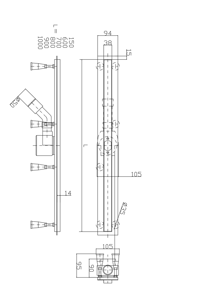 Odwodnienie liniowe SOTTILE SLIM maskownica PIATTO do zabudowy 90x3,5x9,5 cm IÖ Sottile Slim Piatto rysunek