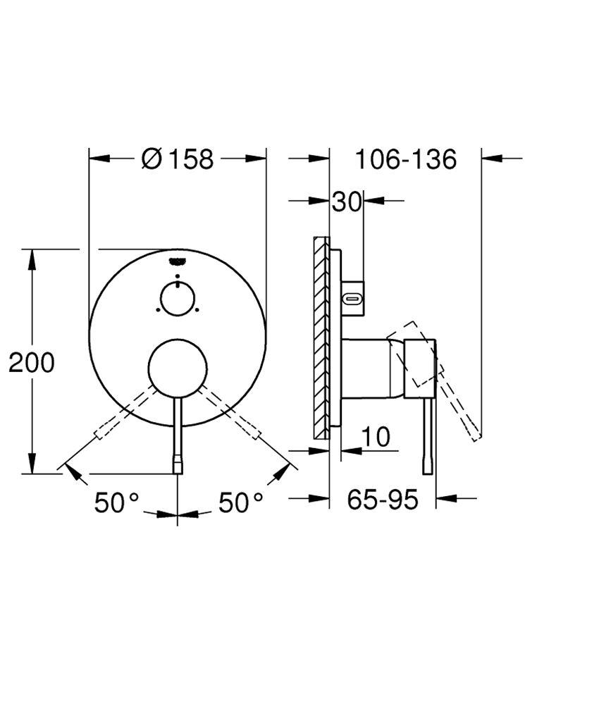 Jednouchwytowa bateria do obsługi trzech wyjść wody brushed cool sunrise Grohe Essence rysunek techniczny