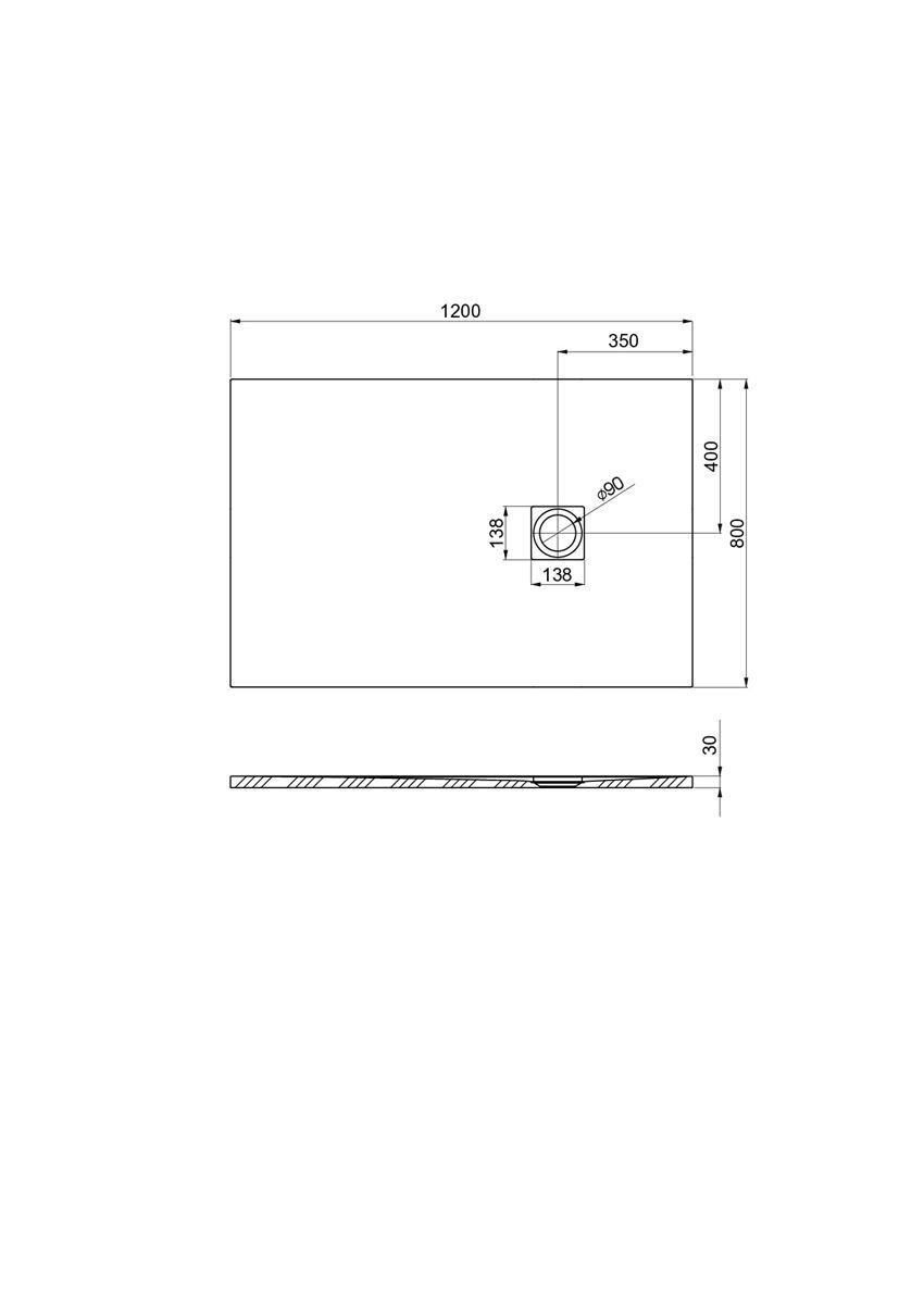 Brodzik kompozytowy 120x80x3 cm Roca Ignis rysunek techniczny