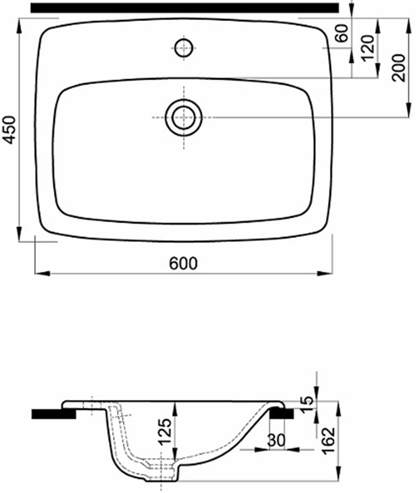 Umywalka podblatowa z półką 55 cm Koło Nova Pro rysunek techniczny